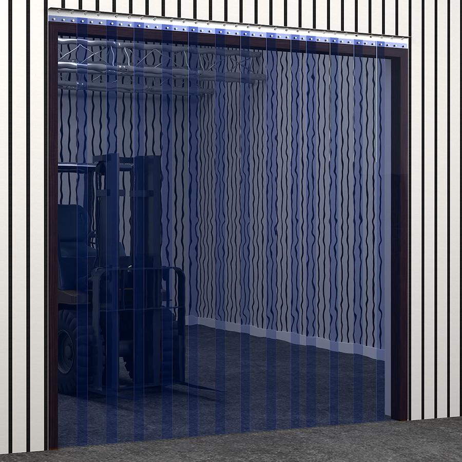 PVC Strip Curtain Transparent Blue